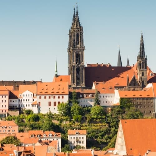 Blick auf die Stadt Meissen in Sachsen, die bekannt ist durch das Meissner Porzellan