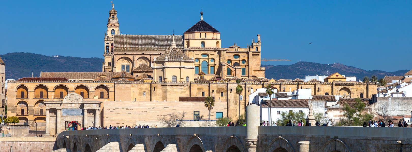 City von Cordoba mit der Roman Brücke und Mezquita in Andalusien Spanien