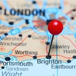 Karte mit der Entfernung wenn man mit dem Zug von London nach Brighton fährt