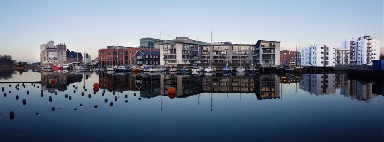 Dänemark Sehenswürdigkeiten - Blick auf den Hafen von Odense
