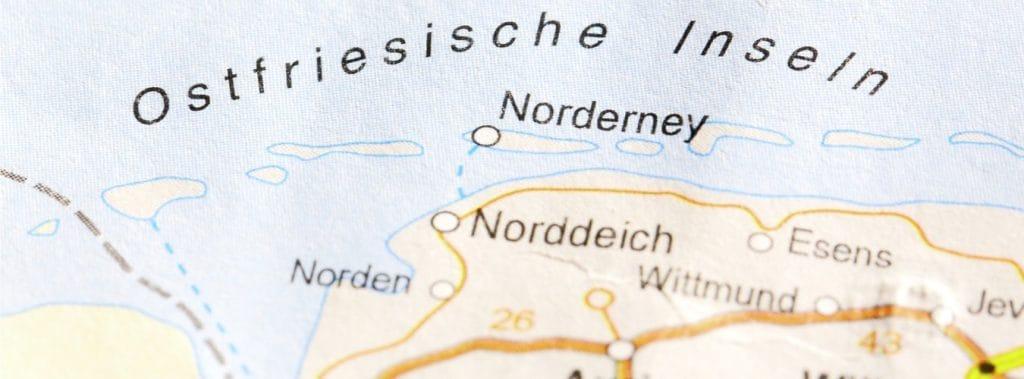 Ostfriesische Inseln auf der Landkarte